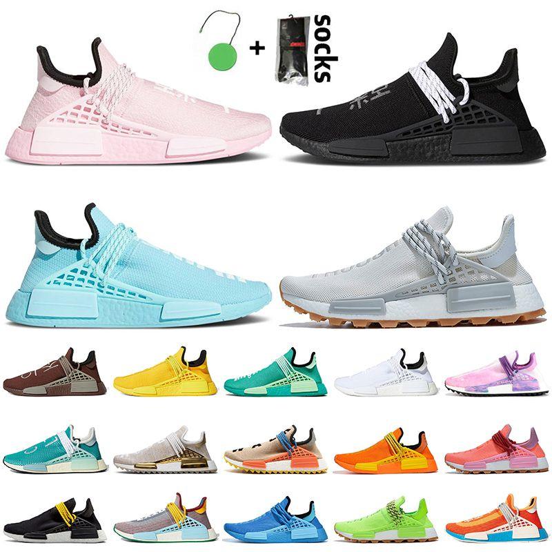 Pharrell Williams x Adidas NMD Human Race 2021 أدات أحذية رجالية تشغيل الوردي أسود أزرق رمادي أحذية رياضية