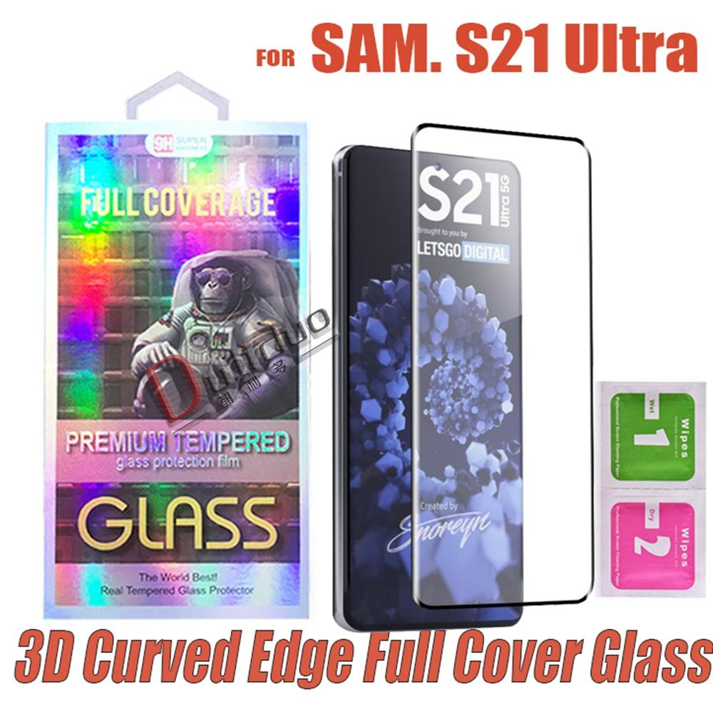 Pellicola protezione dello schermo in vetro integrale del bordo di Cuvred 3D per Samsung Galaxy S21 S20 Nota20 Ultra S10 S9 S8 Plus Note8 Nota9 Nota 10 20 8 9 Film nella scatola al minuto all'ingrosso