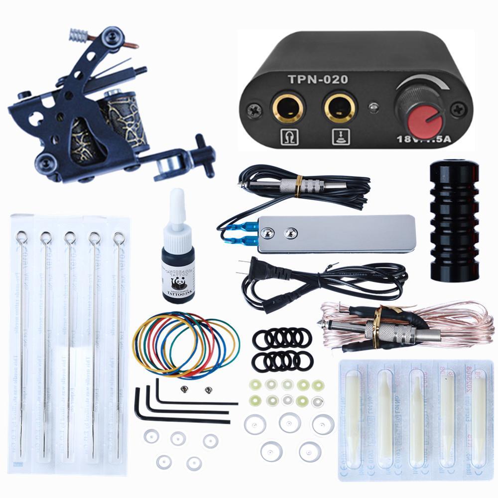 Komplettes Tattoo-Kit für Anfänger Stromversorgung Nadeln Guns Set Kleine Konfiguration Tattoos Maschinenkörperkörper Kunstwerkzeuge