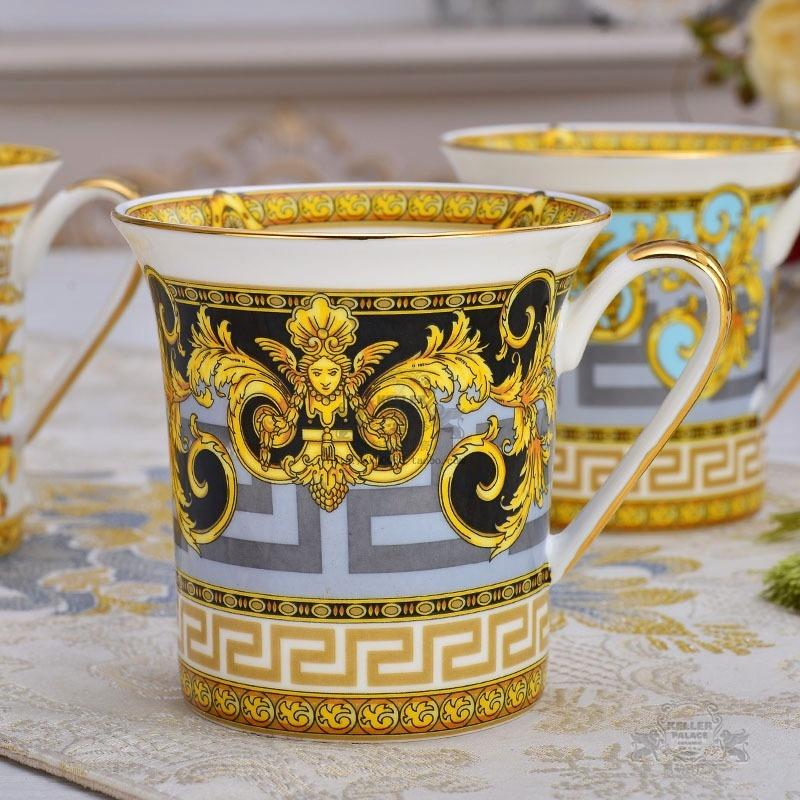 Fine Porcelain Mug for Coffee Tea Handle Painted by Real Gold Platinum Luxury Designer Mugs Gifts 981