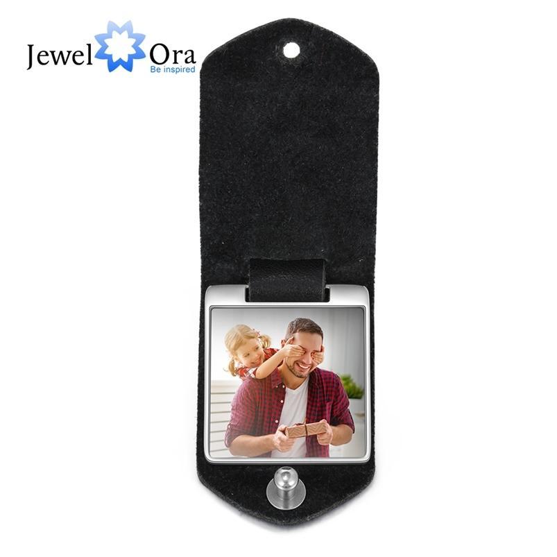 Jóia personalizada foto de couro keychain aço inoxidável personalizar jóias 2 cores moda pai pai gravar nome para homens 210409