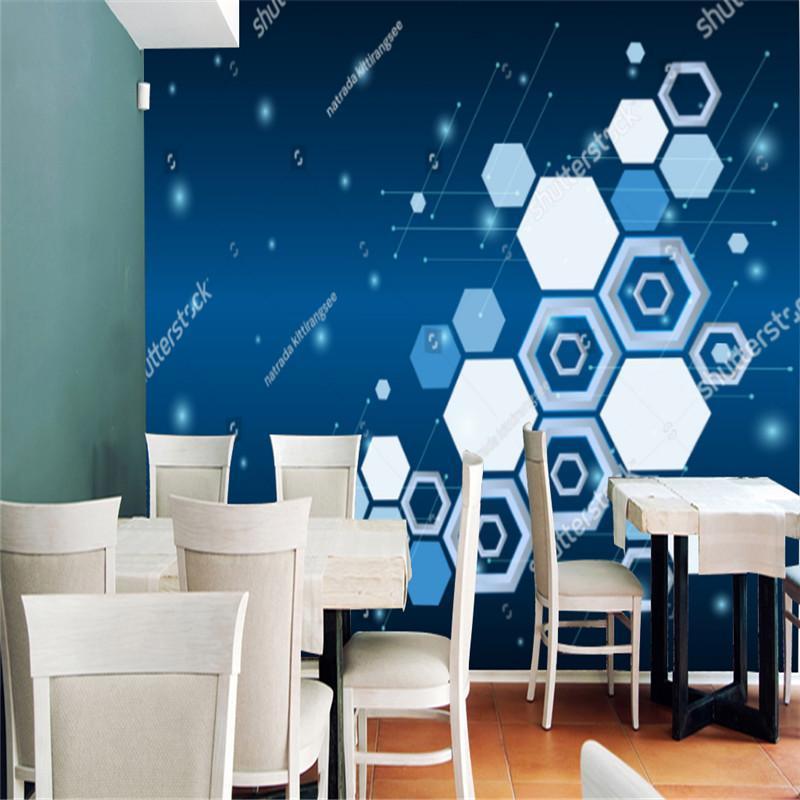 Duvar kağıtları soyut veri modern teknoloji mavi çokgen duvar kağıdı endüstriyel dekor KTV bar arka plan duvar kağıdı duvar papel de parede 3d