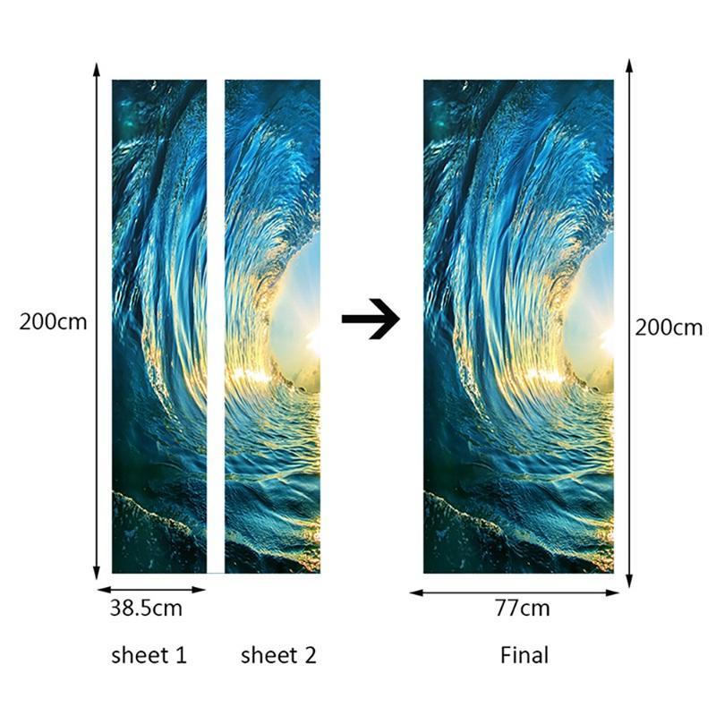 2 Pz / set Adesivi gate Adesivi da murale da camera da letto da murale Della Bedroom Decor Poster PVC 3D Surf Impermeabile Imitazione 3D Porta Autoadesivo Carta da parati Decalcomania 677 V2