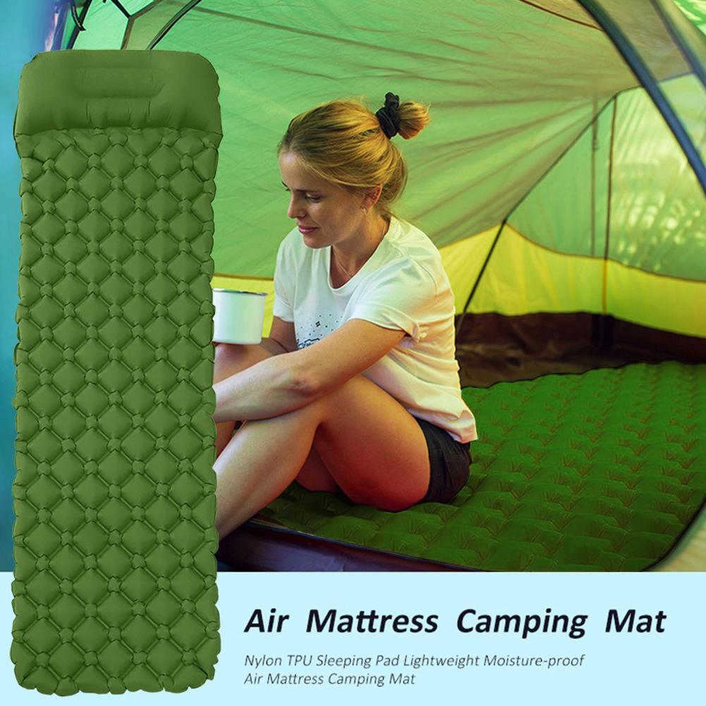 Camping Sleeping Pad Inflatable Air Mattresses Outdoor Mat Furniture Bed Ultralight Cushion Pillow Hiking Trekking
