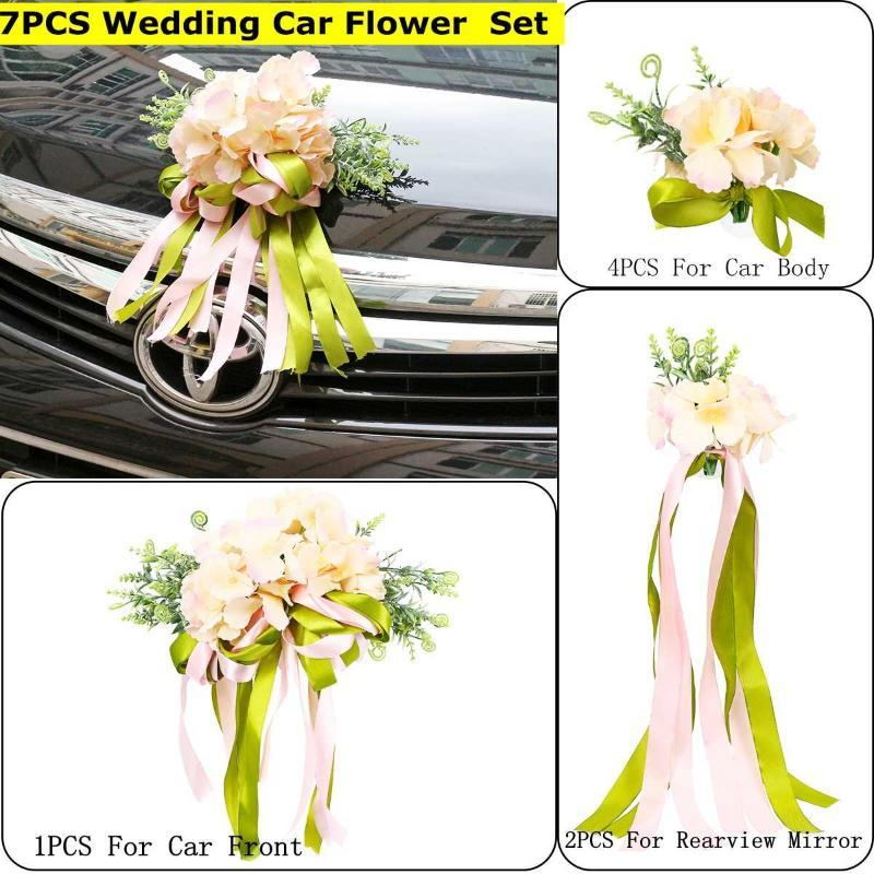 7Pcs/Set Silk Ribbon Artificial Wedding Car Bow Front Door Handles Rearview Mirror Decoration Floral Ornament Decorative Flowers & Wreaths