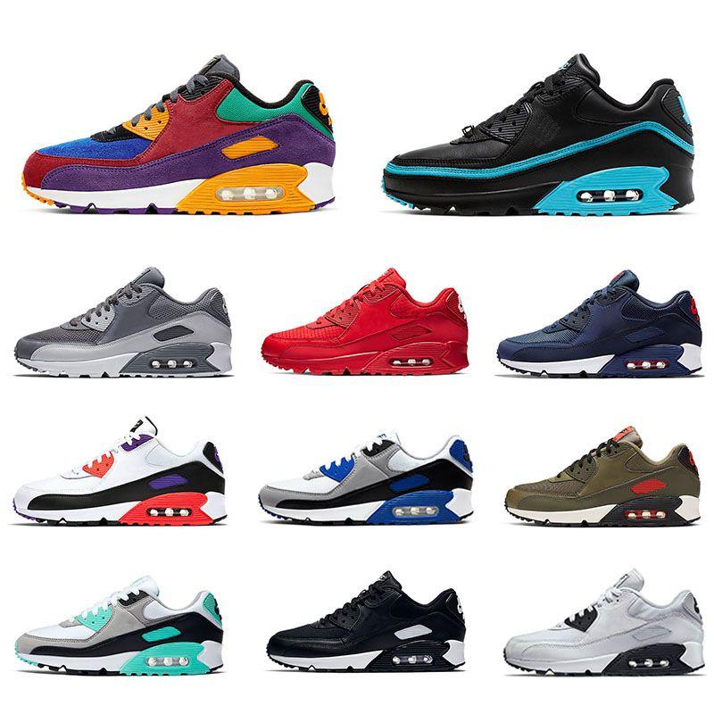2021 Air max 90 Running shoes For Men shoes Viotech Undftd الأشعة تحت الحمراء EXCEE الكلور الأزرق Mixtape أحذية رياضية بريميوم 90s المدربين حجم 36-45