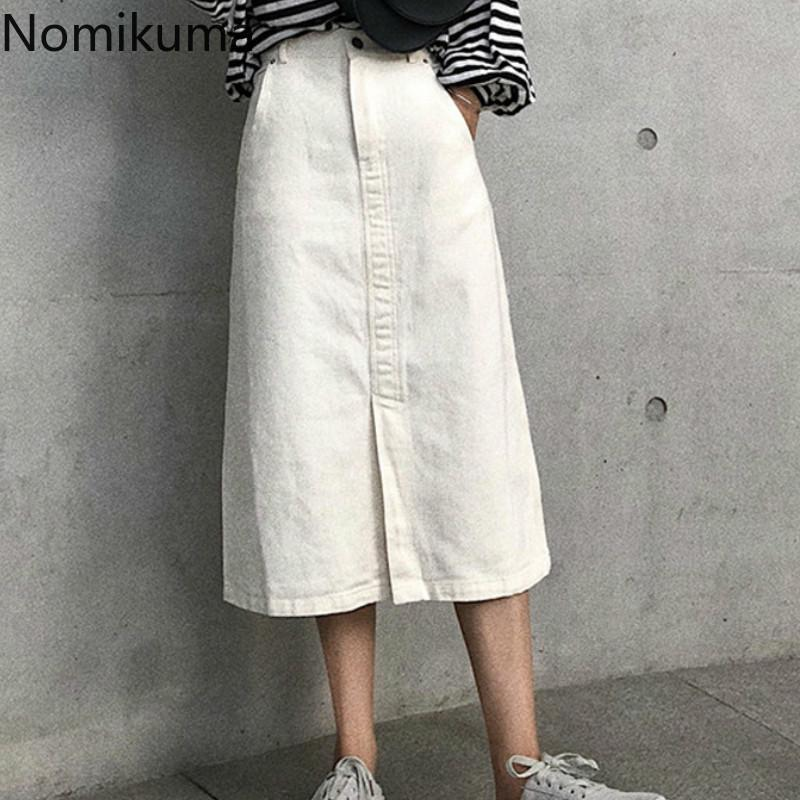 Röcke Nomikuma Koreanische Mode Eine Linie Feste Farbe Split Hohe Taille Eleganter ol Denim Rock Frauen Sommer Faldas Mujer 3A412