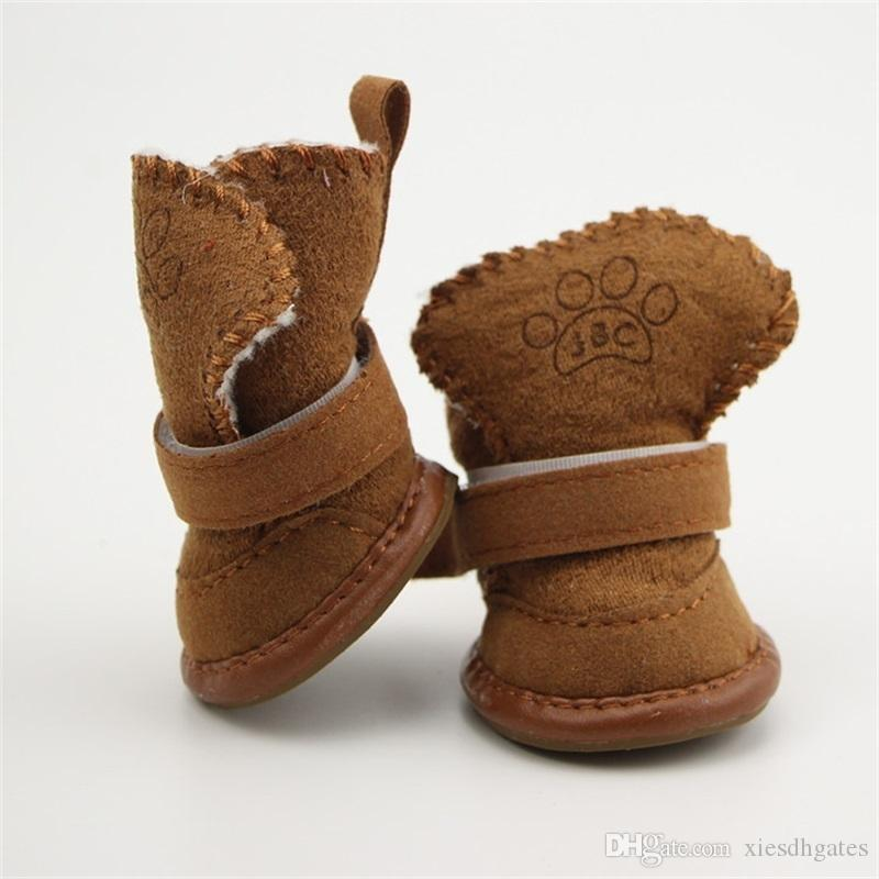 4pcs/set Non-slip Cotton Waterproof Warm Winter Shoes Teddy Pet Thick Soft Bottom Snow Boots for Small Dog 26 S2 6CBF
