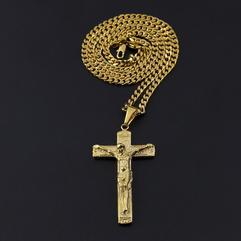 Cross Necklace Jesus Gold Plated Stainless Steel Pendant Fashion Religious Faith Necklace Mens Hip Hop Jewelry