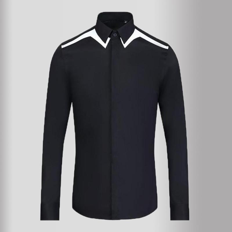 클래식 간단한 망 셔츠 럭셔리 블랙 화이트 숄더 스플 라이스 긴 소매 캐주얼 드레스 패션 슬림 맞는 남성 남성