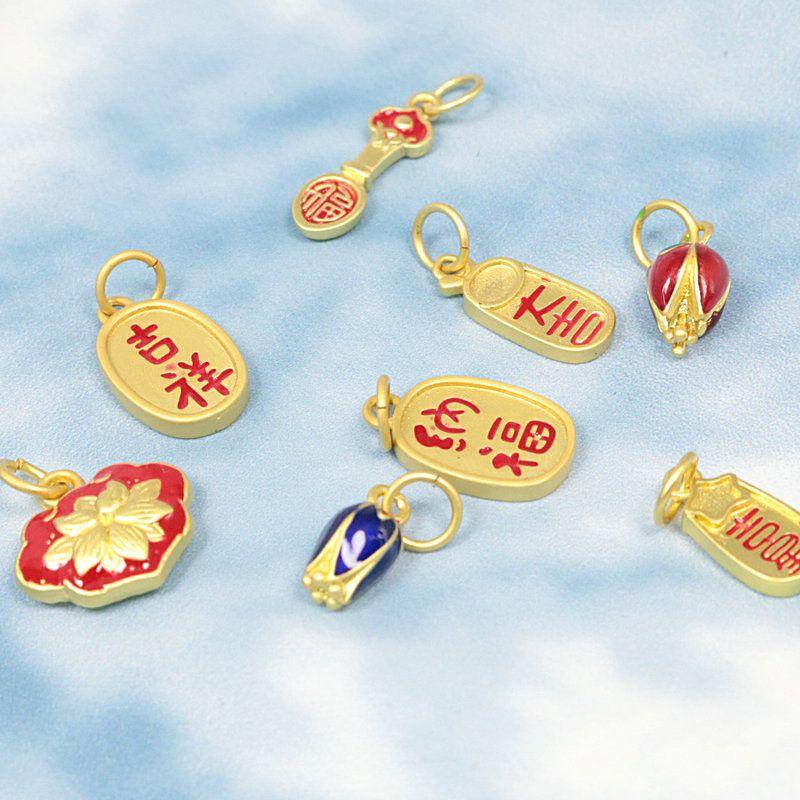 8 stücke chinesische stil placer gold cloisonne emaille anhänger diy charms schmuck material herstellung halskette armband anklett zubehör