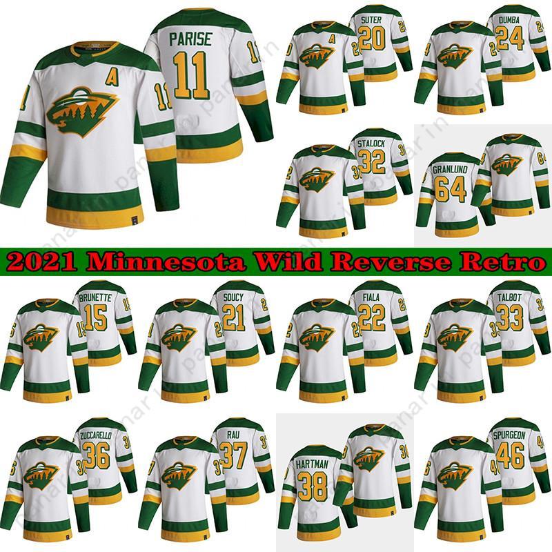Minnesota Wild Hockey Jersey 2021 Reverse Retro 11 Zach Parise 36 Mats Zuccarello 64 Mikael Granlund 38 Ryan Hartman