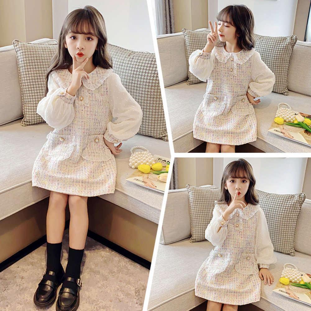 Девушки платья Физические Стрелки 2021 Весна Chine Universi Зарубежный Рынка Плед Осень Детская Длинная юбка SVE