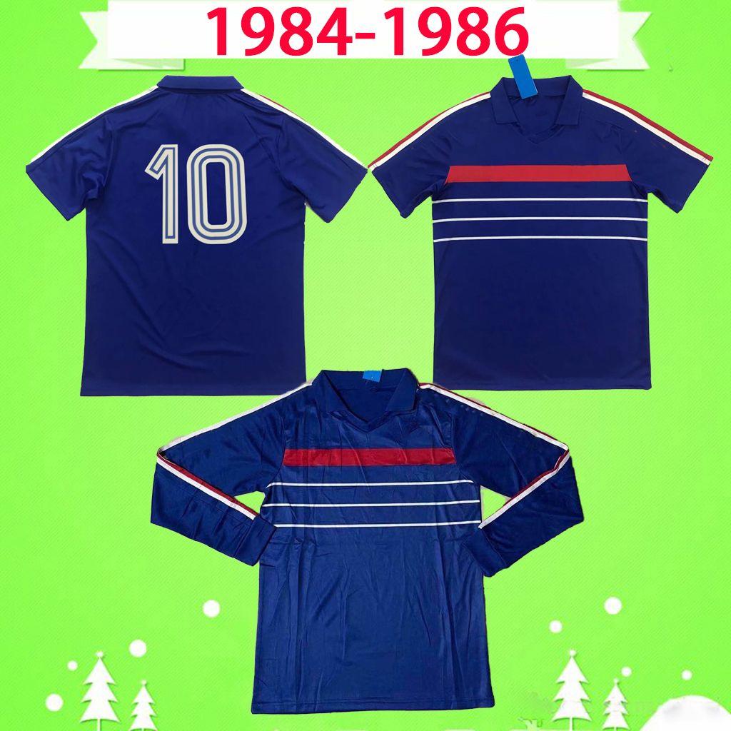 France Francia jersey 1984 1985 RETRO camicia di jersey di calcio a casa blu annata di calcio 84 85 Classic Maglia qualità Thai del piede