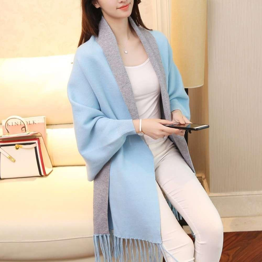 TryEverything Knitted Tassel Long Cardigan Female Patchwork Scarf Collar Winter Women Ponchos And Capes With Batwing Sleeves