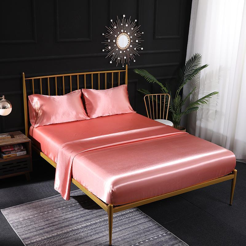 High Quality Duvet Cover Silk Bed sheets Four Piece Bedding Sets 9 Color On Sale Comforter Sets 470 V2