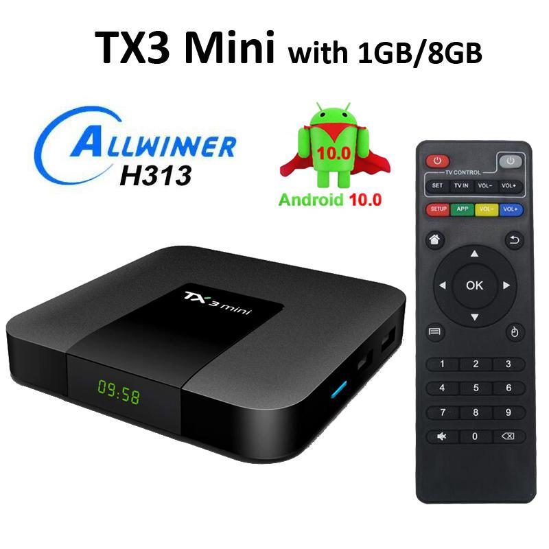 TX3 Mini Smart TV Box Allwinner H313 2.4G WiFi Android 10 1g + 8G 4K HD 1.5 GHz Set-TOBOX 2.4GHZ Media Player