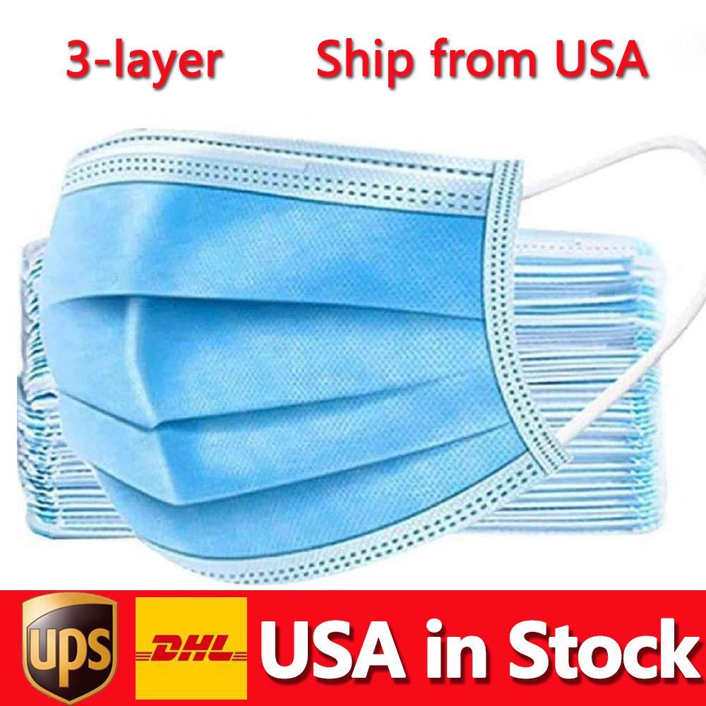 الولايات المتحدة الأمريكية في المخزون قناع القناع القابل للتصرف 50pcs 3-طبقة الحماية والصحة الشخصية فم الوجه أقنعة صحية