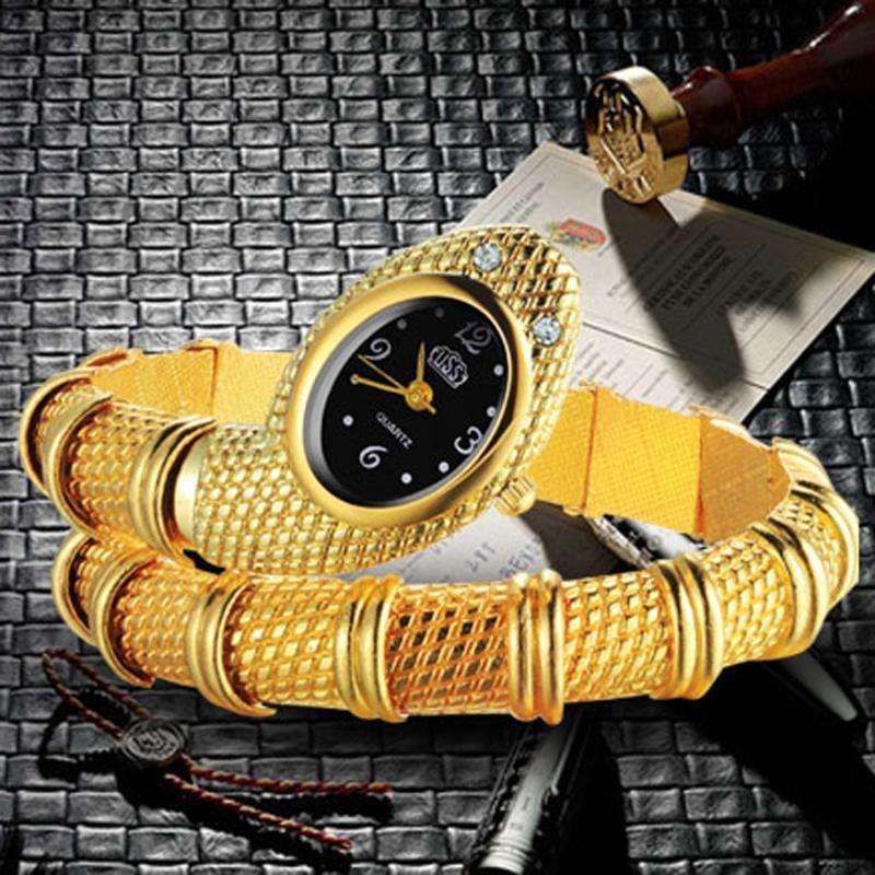 Relógios Luxo Gold Snake Mulheres Quartz Bangle Vestido de moda Relogio Feminino relógios de pulso
