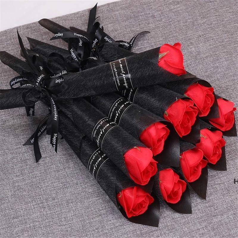 Singolo stelo fiore artificiale rosa romantico giorno di San Valentino da sposa festa di compleanno festa sapone rose fiori rossi rosa blu DHB6228