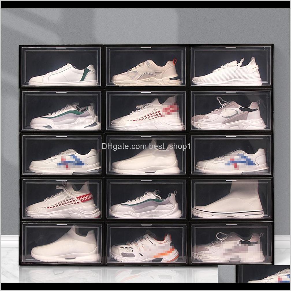 Cajas de almacenamiento BINS Caja plegable de plástico más gruesa a prueba de polvo Shoebox Transparent Der Orden Out Zapatos Gabinete Zapato Organizador VT18 VEBJZ