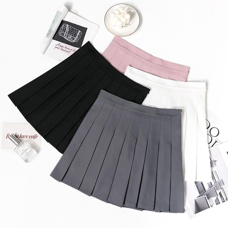 Frühling Hohe Taille Schwarz Plissee Röcke Frauen 2021 Koreanische Stil Sommer Mini Nette Schule Mädchen Sexy Rock mit Reißverschluss