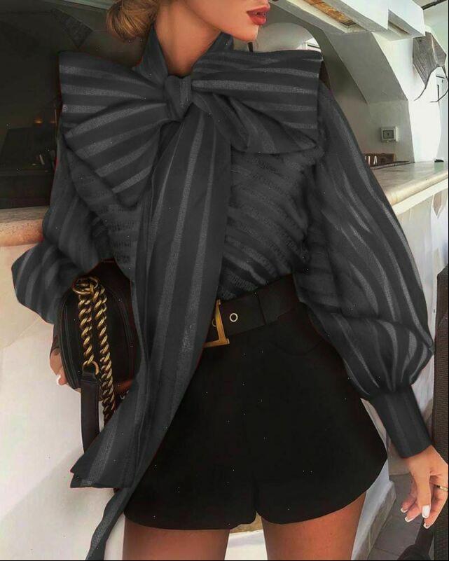 Elegant blusa feminina Fashion Women Shirts Long Lantern Sleeve Lace Bow Tie Ladies Tops Casual Loose Blusas Oversize