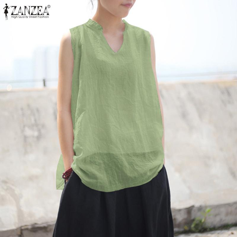 Summer Solid Tank Tops ZANZEA Casual Cotton Linen Shirts Women V Neck Sleeveless Party Blouse Female Blusas Chemise S 5XL Women's Blouses &