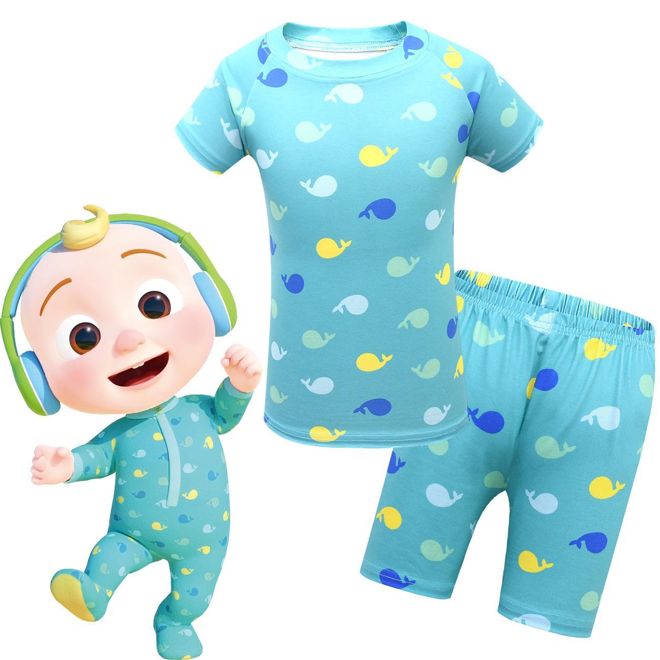 아기 잠옷 여름 아동복 홈 서비스 코코 멜론 반팔 탑 + 반바지 2 피스 세트 1772 아이 의류