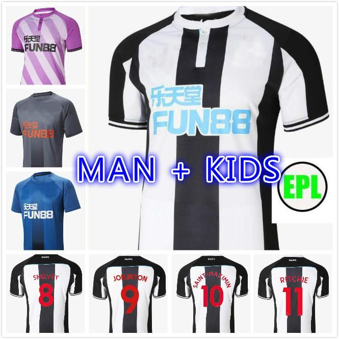 Homem + Kid Kit 21 22 Ritchie Jerseys de futebol Home United Joelinto 2021 2022 Lascelles Shelvey Football Yedlin Camisas Men Newcastl