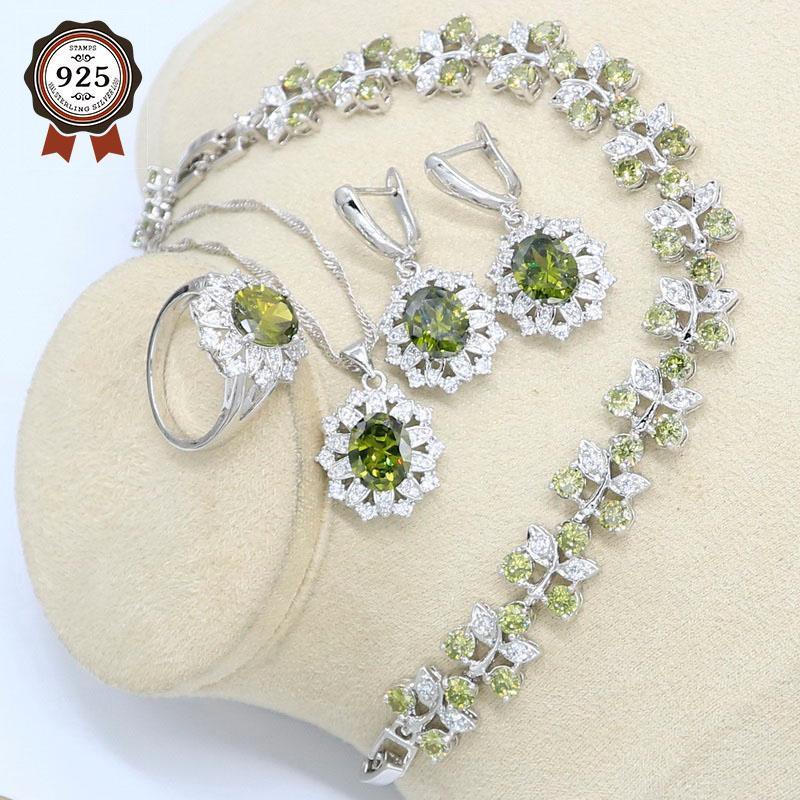 Set di gioielli da sposa Arrivo 925 Set in argento 925 per le donne oliva verde Zircone braccialetto orecchini collana anello ciondolo anello di compleanno regalo