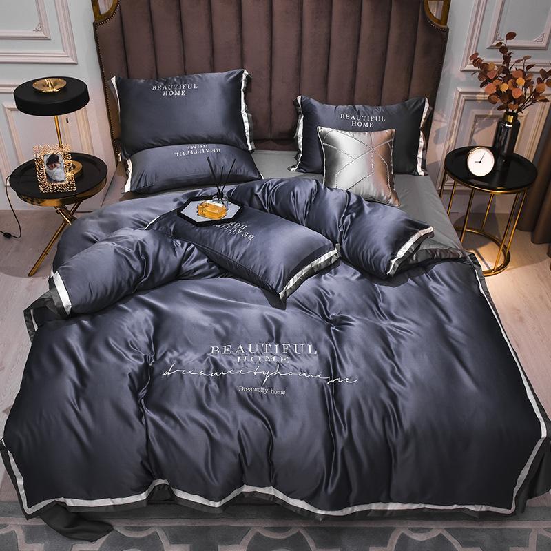 2021 Conjuntos de lecho de seda de venta caliente 4 PCS Traje de cama sólido Traje QUULIT CUBIERTA DESIGNADOR Suministros de cama 10 colores 436 V2