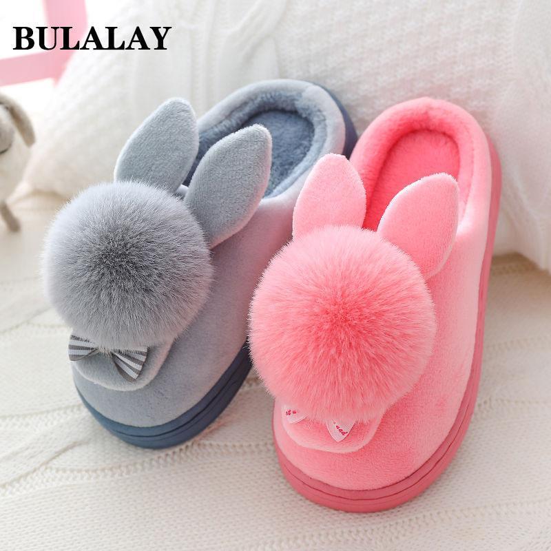 Otoño Invierno Algodón Zapatillas de piel Hogar Cálido Cálido Parte Inferior Zapatos Interior Para Mujer Lindo Mullido Gato