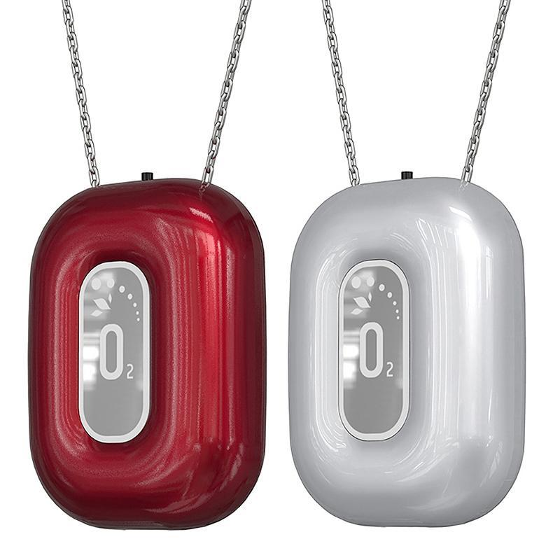 Air Purifiers 2x Fashionable Personal Wearable Mini Negative Ion Necklace Hanging Neck Purifier Ionizer Generator Red & Silver