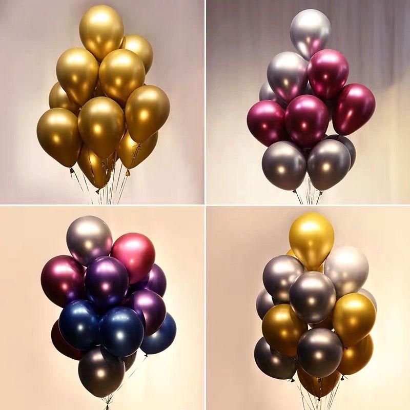 Parti Balonları 50 ADET 12 inç Gül Altın Metalik Krom Helyum Parlak Lateks Kalınlaşmak Balon Mükemmel Dekorasyon Düğün Doğum Günü Mezuniyet Noel Karnaval