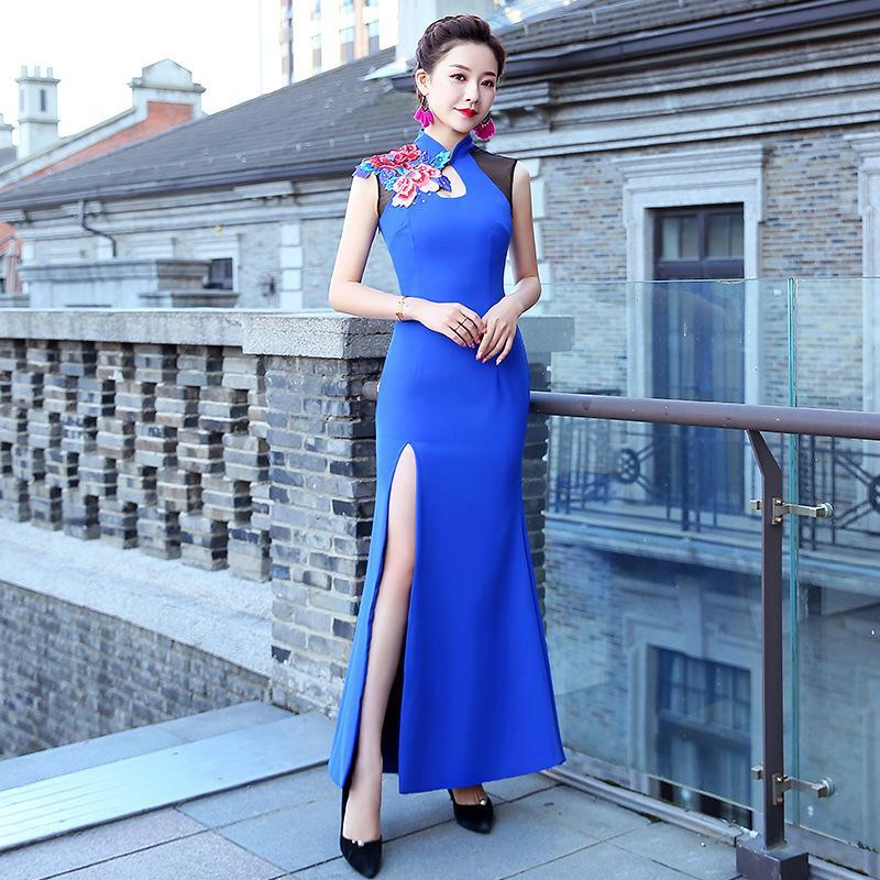 Ethnic Clothing Big Size Flower Cheongsam Mandarin Collar Evening Party Dress Gown Lady Blue Satin Vintage Qipao High Split Sexy Long Vestid