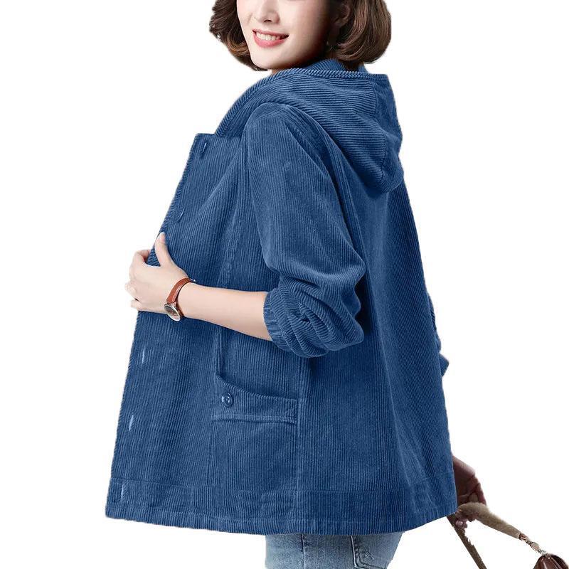 Kadın Kadife Ceket İlkbahar Sonbahar Ceket Artı Boyutu 4XL Orta Yaşlı Anne Kapüşonlu Rüzgarlık Kadın Rahat Giyim Kadın Ceketler Tops