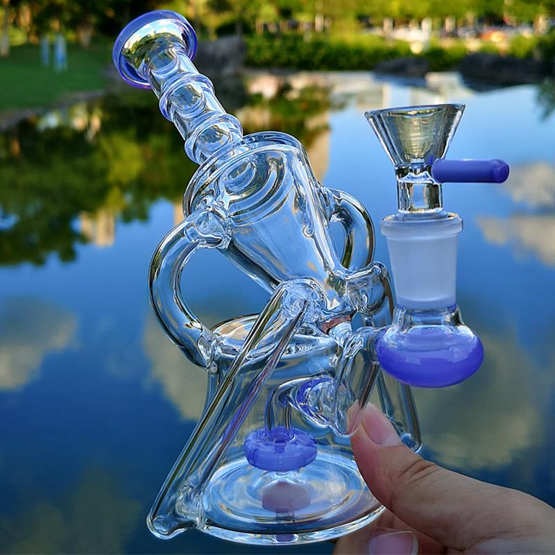 Heady Glass Bongs Recycler Hookah Water Bong Unique Green Purple Sidecar Hookahs Smoking Pipes Showerhead Perc Percolator Oil Dab Rigs 14mm Female Joint With Bowl