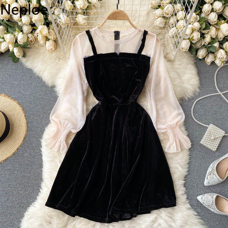 Zarif Kadınlar Elbise O Boyun Puf Kol Kadife Patchwork Elbiseler Kore İnce Bel Kontrast Renk Sahte İki Parçalı Vestidos 210422