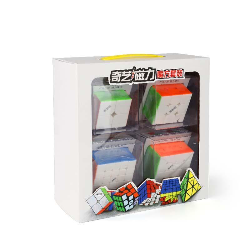 QIYI MS 마그네틱 시리즈 선물 팩 매직 큐브 4pcs Mofangge Speed 큐브 트위스트 퍼즐 교육 완구 선물 2x2 3x3 4x4 5x5 Cubo M