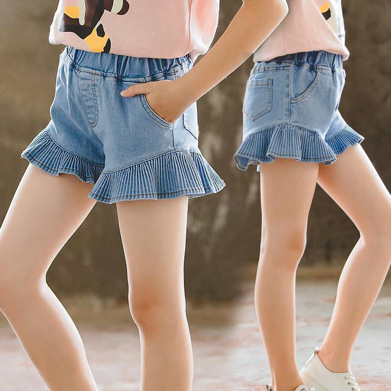 Sommer Kinder Kleidung Jeans Kinder Baby Shorts Mädchen Mode Lotus Blatt Denim für