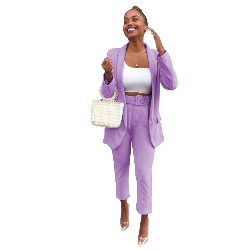 Echoine Фиолетовый Женщины Костюмы Элегантные Офисные Дамы Работы Blazer Два Части Комплект Бизнес Ол Костюм Femme Брюки Костюм Black 2020