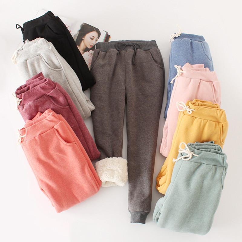 Женские брюки капризов осень зима женщин повседневный бархатный гарем толстые свободные теплые женские шнурки длинные брюки панталон Femme pz756