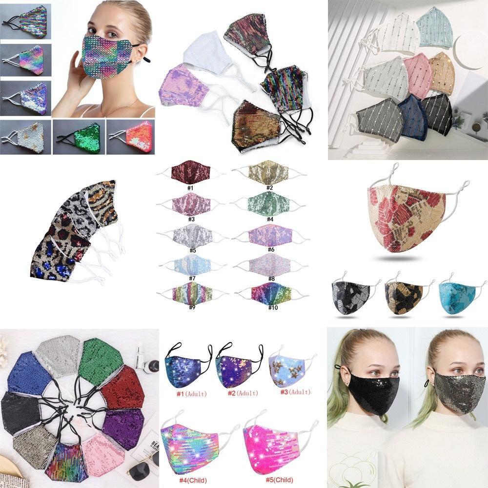 Fashion Bling Bling Sequin Maschera protettiva Spoteruota antipolvere Lavabile Antivento Riutilizzo viso Maschera elastica Elastic Elastoop Mouth Mask Multi Colors