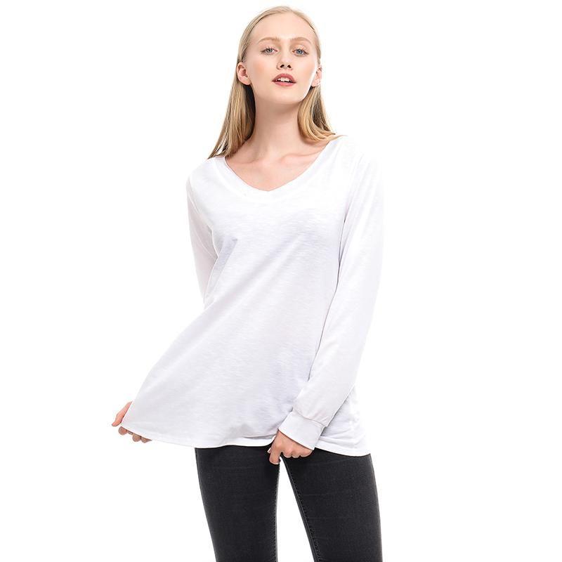 Frauen Yoga Hemden 2021 Langärztliche Fitness Sport für Femme Feste Farbe V-ausschnitt Basic Tops Lose Camiseta Feminina Outfit