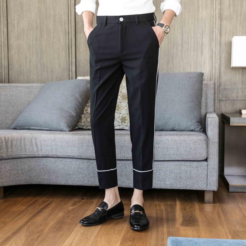 Hommes coréen longueur longueur pantalon mode slim ajustement pantalon homme classique de haute qualité masculin vêtements occasionnel Pantalons de formelle sociale des hommes