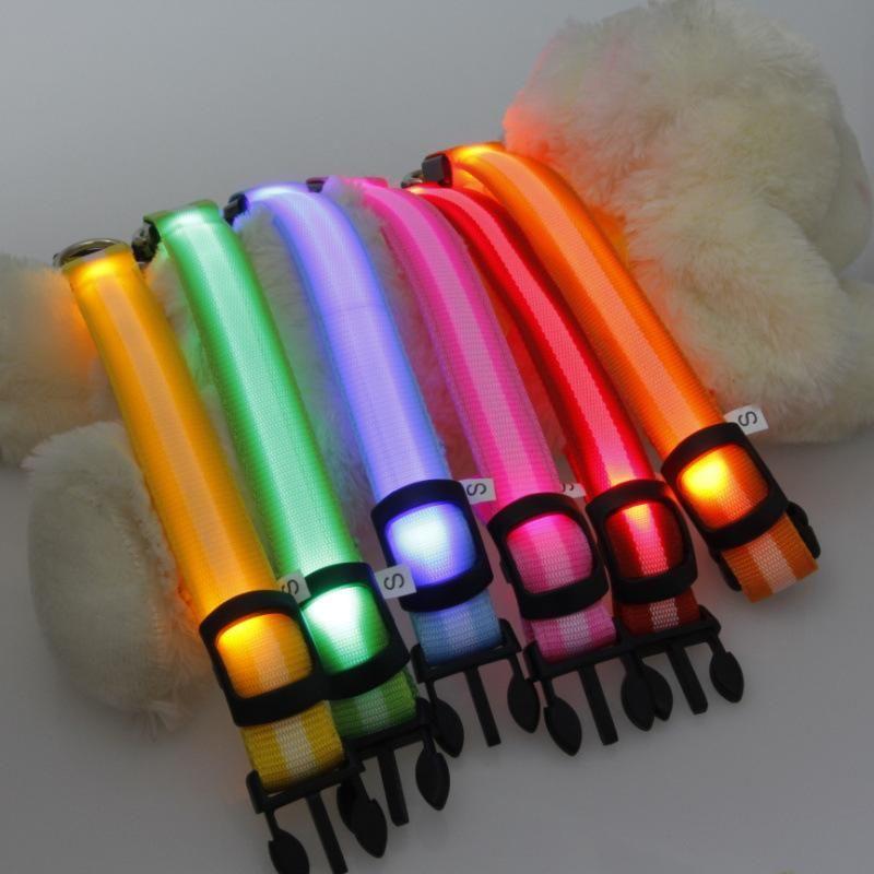 Hundekragen Leinen 100 stücke Nylon Haustier LED Halsband Nacht Sicherheit Blinkende Glühenkatze Für Hunde S / M / L