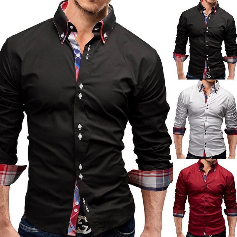 남성 셔츠 단색 격자 무늬 패치 워크 슬림 턴 다운 칼라 긴 소매 탑 정식 남성 소셜 싱글 브레스트 셔츠 플러스 사이즈 남성 캐주얼