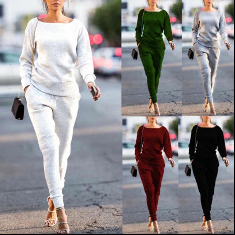 Tracksuit 2pcs 세트 긴 소매 womens tracksuits pullovers tops 바지 면화 복장 운동복 조깅 스웨트 여성 의류