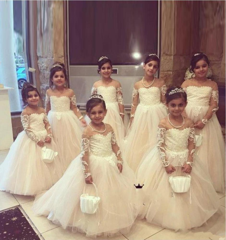Vestidos de la muchacha de la flor de encaje de la manga larga larga y encantadora para la longitud del piso de la boda los camisones de fiesta de las vacaciones de cumpleaños de la muchacha de los niños